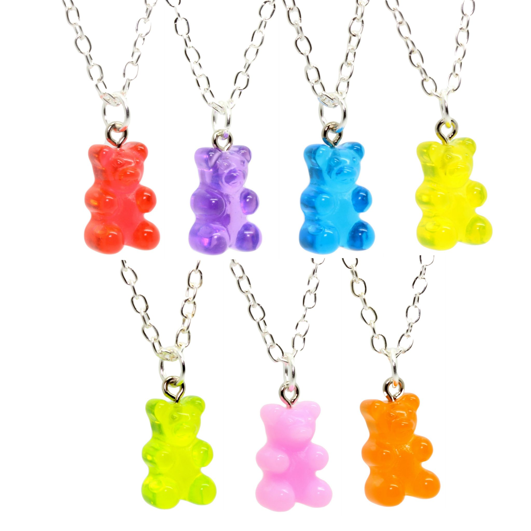 FizzyButton Gifts Set of 5 Translucent Jelly Gummy Bear Necklaces Colours as Shown for Girls Party Goody Bags